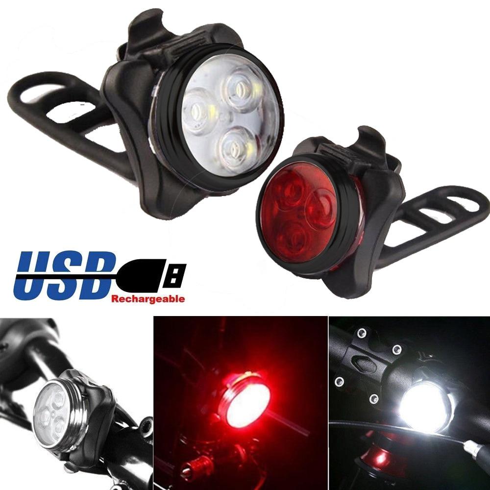 Bicicleta de ciclismo brillante de alta calidad 3 LED faro delantero 4 modos USB recargable lámpara trasera de Clip impermeable caliente #25