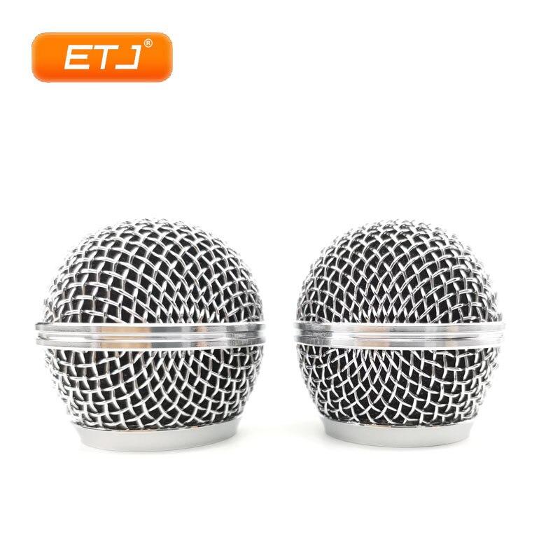 Micrófono Relacement plata pulida bola cabeza malla 2 uds rejilla del micrófono se adapta a shure sm 58 sm 58sk beta 58 beta58a