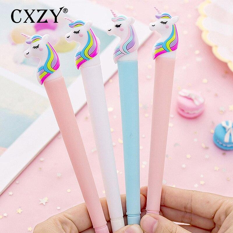 CXZY милый ЕДИНОРОГ розовый синий белый 0 38 мм гелевые черные чернила для ручки