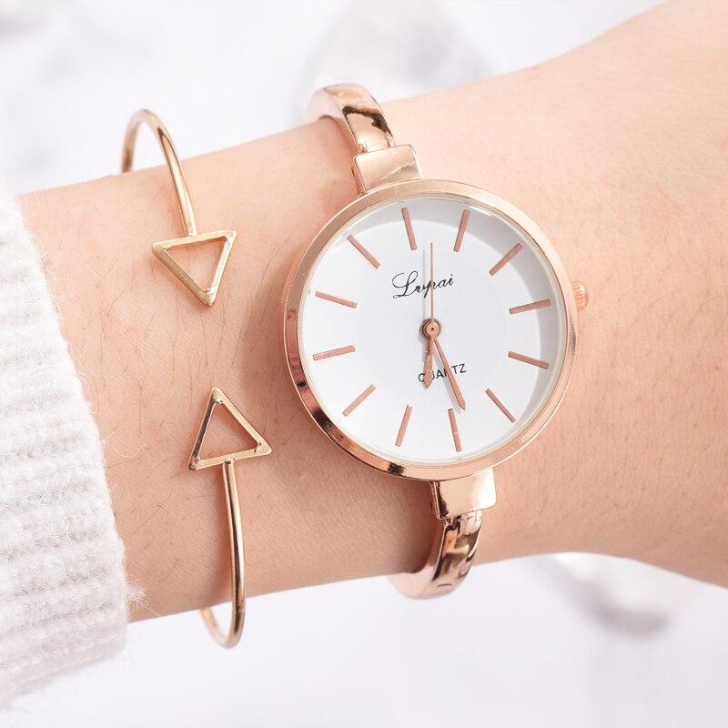 Lvpai Brand Watch Women Fashion Big Scale Bracelet Watches Set Thin Style Fine Strap Quartz Gold Wristwatch Relojes De Mujer