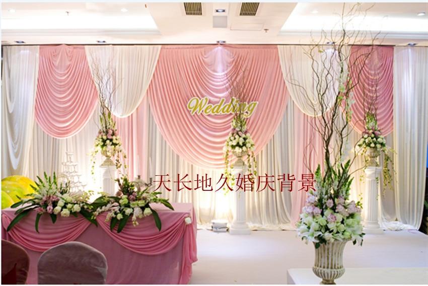 2014 Luxo Branco Contexto Do Casamento com Beatiful Ganhos cortina de Casamento e cortina