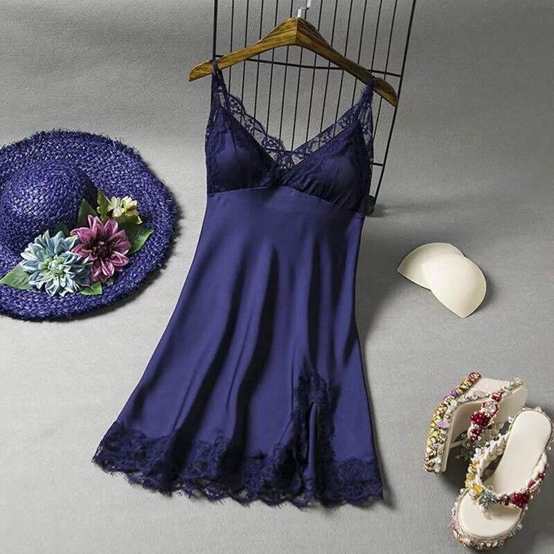 Mulheres com decote em v sem costas vestido de noite floral renda cetim sleepwear cinta espaguete legal fina camisola de dormir
