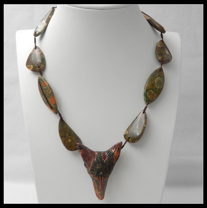 Piedra Natural multicolor jaspe Picasso océano jaspe tallado Animal Lobo moda para la cabeza joyería colgante longitud ajustable