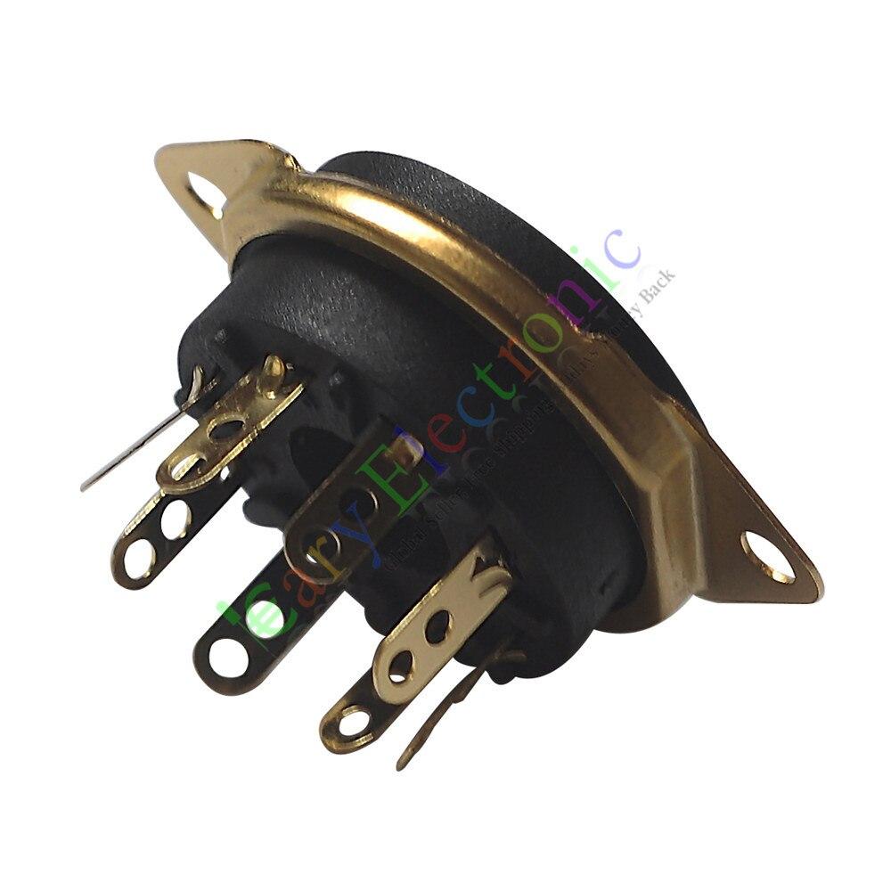 Al por mayor y al por menor 50pc 8pin Gold baquelita zócalos de tubo de vacío base de la válvula para EL34 KT88 6550 6SN7 envío gratis
