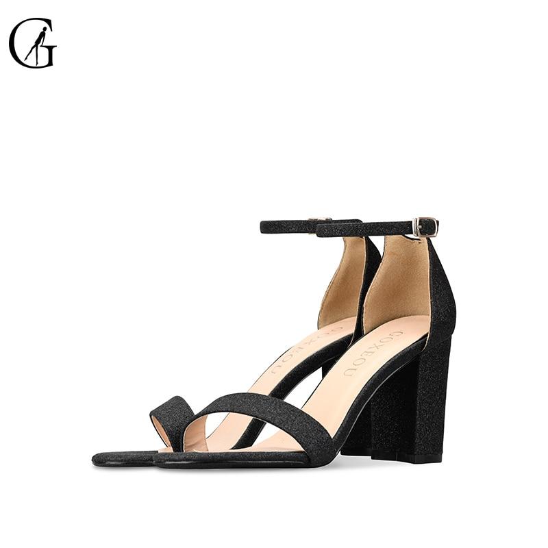 Goxeou sandálias femininas glitter tornozelo cinta preto dedo do pé redondo 8 cm salto alto grosso festa moda escritório senhora sapatos tamanho 32-46