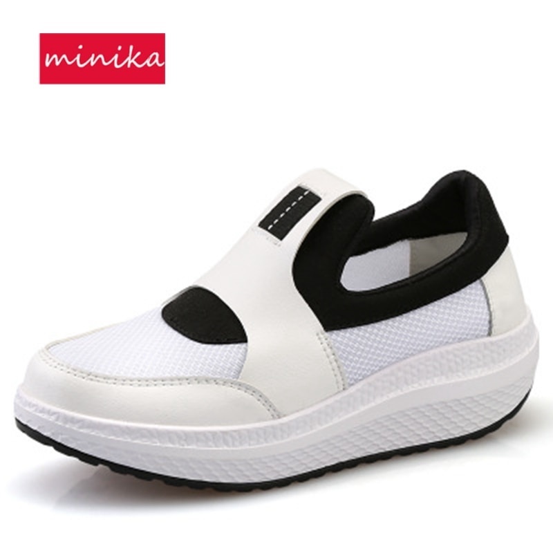 Для женщин тонизирующее обувь PU & сетки дышащая скольжения на танкетке Обувь для