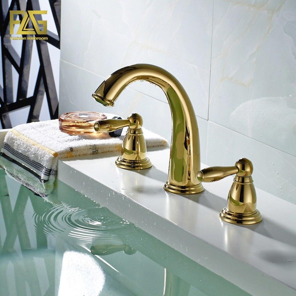 حنفية حمام FLG على الطراز الاسكندنافي مع 3 فتحات ، خلاط مياه ساخن وبارد ، 201-44 جرام ، مطلي بالذهب