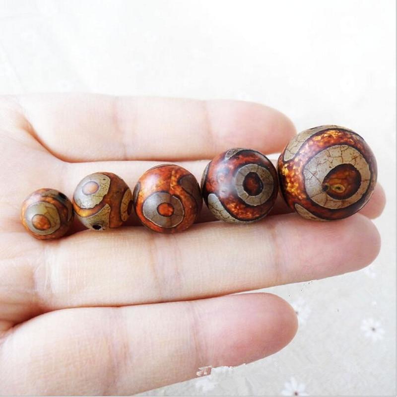 5 uds redondo Natural ágata Tibet espaciador suelto Dzi cuentas para DIY joyería hacer encanto cuentas pulsera collar hallazgos Z314