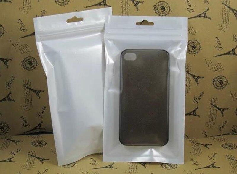 Bolsa de embalaje plástico al por menor con cierre de válvula blanca/clara de 10*18cm Bolsa con cierre de cremallera Paquete de almacenamiento al por menor para iphone 7 6 funda para cable 3M