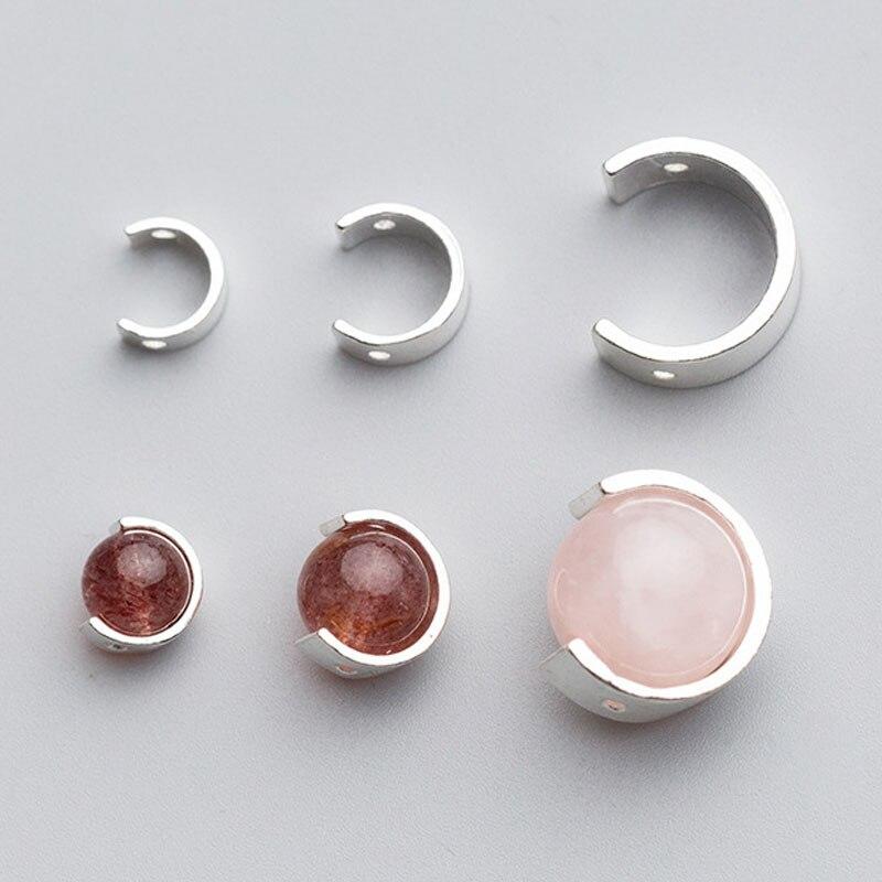 Separador de plata de ley 100% 925, cuentas de 6mm, 8mm, 12mm, cuentas de encanto semiredondas de circón para fabricación de pendientes, joyería DIY