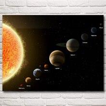 Uzay Güneş Sistemi Güneş Mercury Venüs Toprak Mars Jüpiter Sanat İpek Posteri Ev Dekor Resimleri 12x16 30x40 inç Ücretsiz Kargo