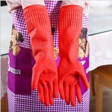 Gants caoutchouc flexibles et confortables pour femmes   Gants de nettoyage de la vaisselle rouge, longs gants, offre spéciale