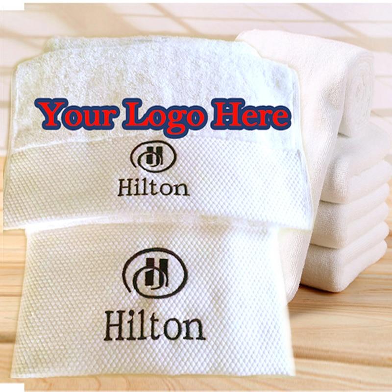 100% de algodón Toalla blanca de cara Hotel de toalla de baño bordado personalizado Toalla de playa de regalo con Logo