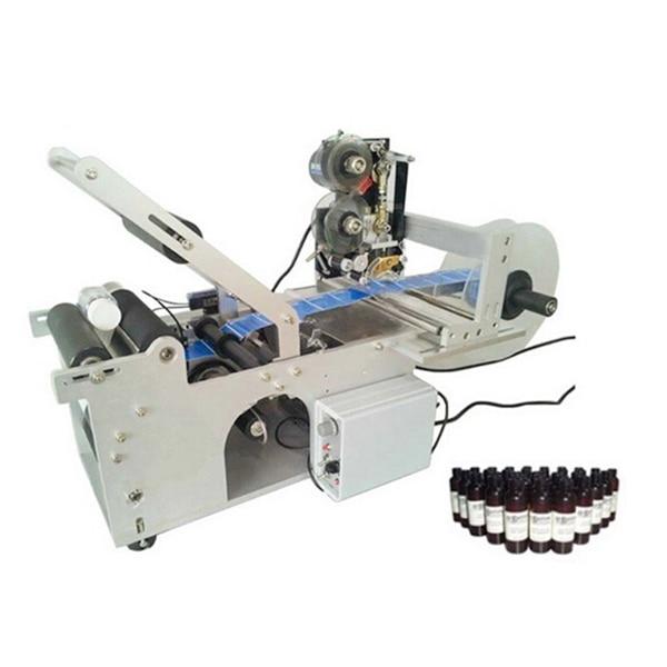 Small semi-automatic glass bottle labeling machine with label printing machine