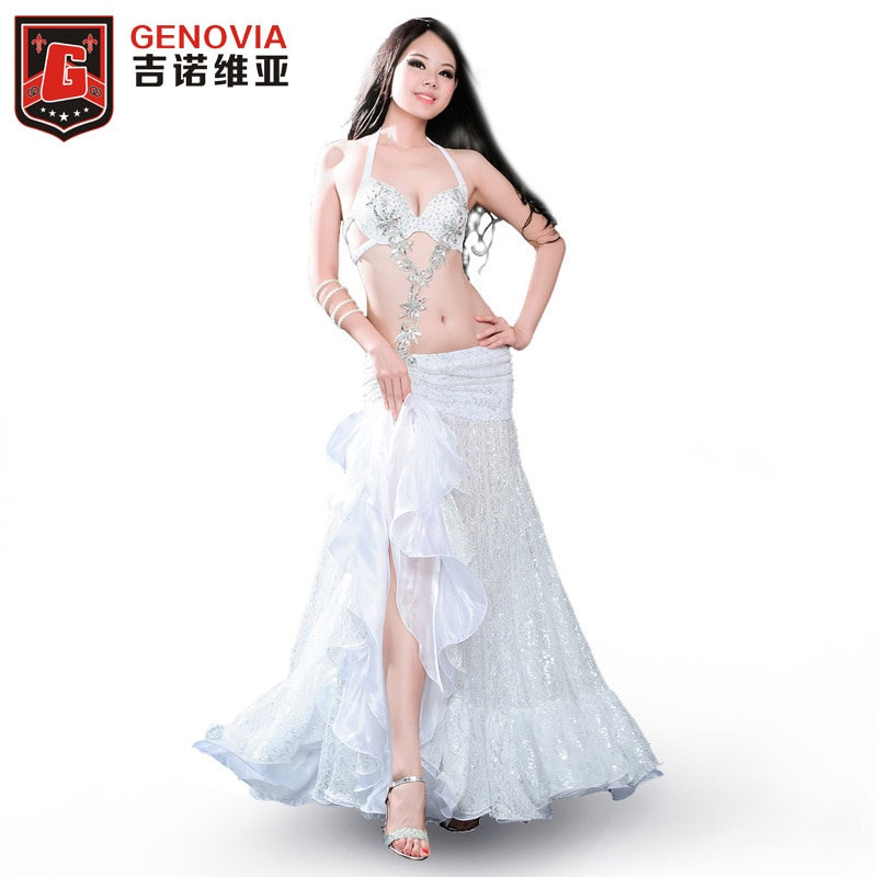 Conjunto de traje de danza del vientre 2018 vestido de falda superior y anillo de brazo derecho Hollywood Rio Carnival 3 uds