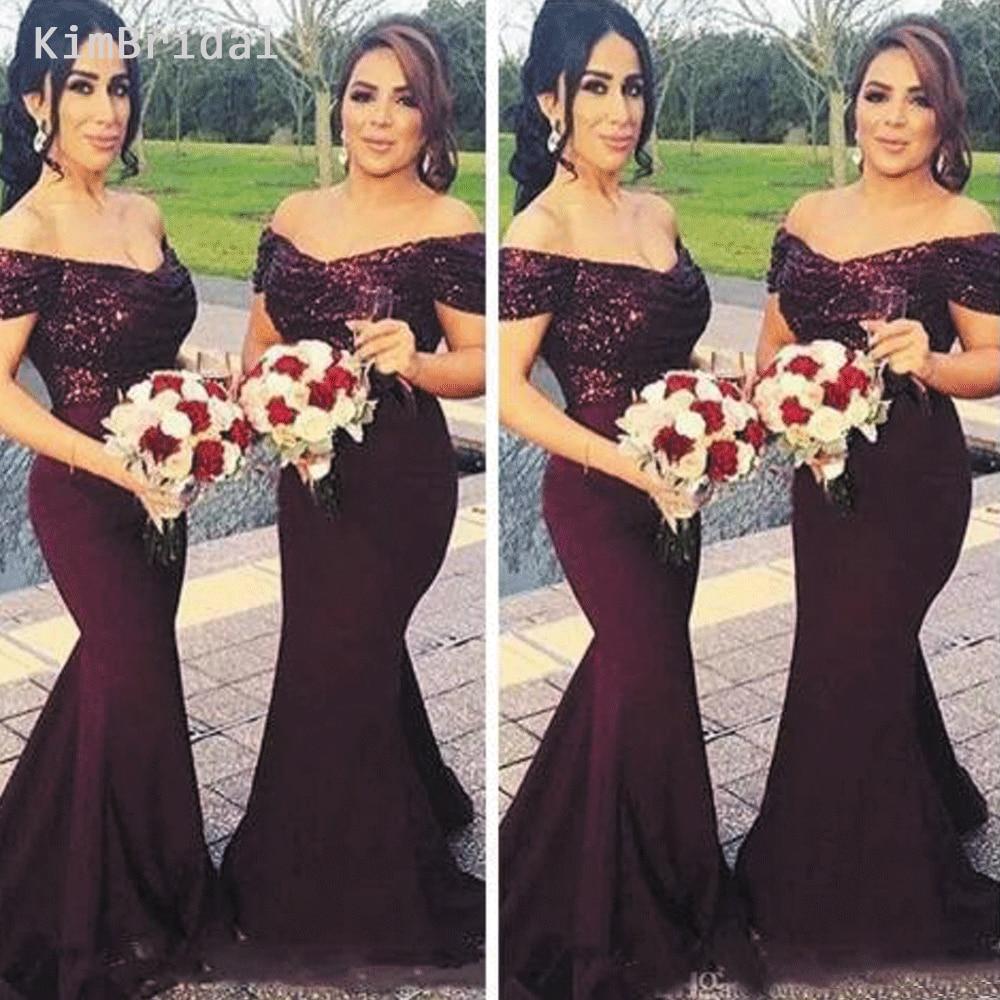 Profundo roxo vestidos de dama de honra longo 2019 sereia v pescoço uva lantejoulas vestidos de festa de casamento robe de soiree