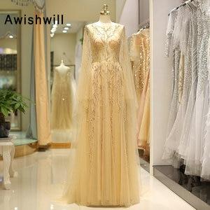 Женское вечернее платье, с длинным рукавом, с открытой спинкой, а-силуэта, с корсетом и шлейфом, золотое, Формальное, для выпускного бала, 2020