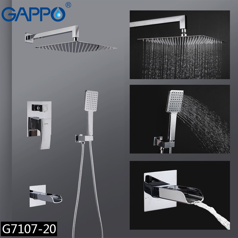 GAPPO robinet de douche, salle de bains mélangeur de douche, robinets de baignoire, ensemble de robinets de douche à cascade, ensemble de douche à pluie chromée