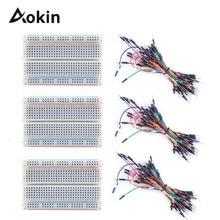 3Pcs 400 Point Breadboards Kit 3 X 65Pcs M/M Flexible Breadboard Jumper Wires  for Arduino Raspberry Pi