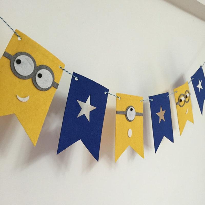 Guirnalda de fiesta, banderas de Minions de dibujos animados, banderines, decoración de baño de bebé, suministros de decoraciones para fiestas de cumpleaños para niños