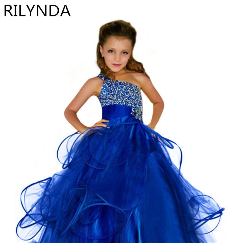 2-14  Ball Gown Kids Sequin Flower Girls Dress Kids Pageant Party Wedding Ball Gown Prom Princess Formal Occassion Girls Dress children flower girls dress princess kids dress with bow summer flower girls wedding party clothes kids prom gowns with necklace