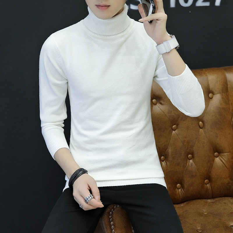 2018 Autumn Winter Turtleneck Mens Sweaters Slim Fit Pullover Knitwear solid color thick warm long sleeve Men sweater Pull Homme недорого