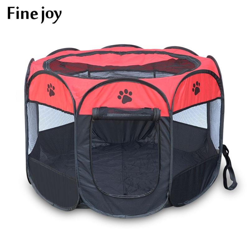 fine joy Pet House Portable Folding Pet Tent Cage Dog Cat Tent Puppy Kennel Octagonal Fence Outdoor Pet Supplies