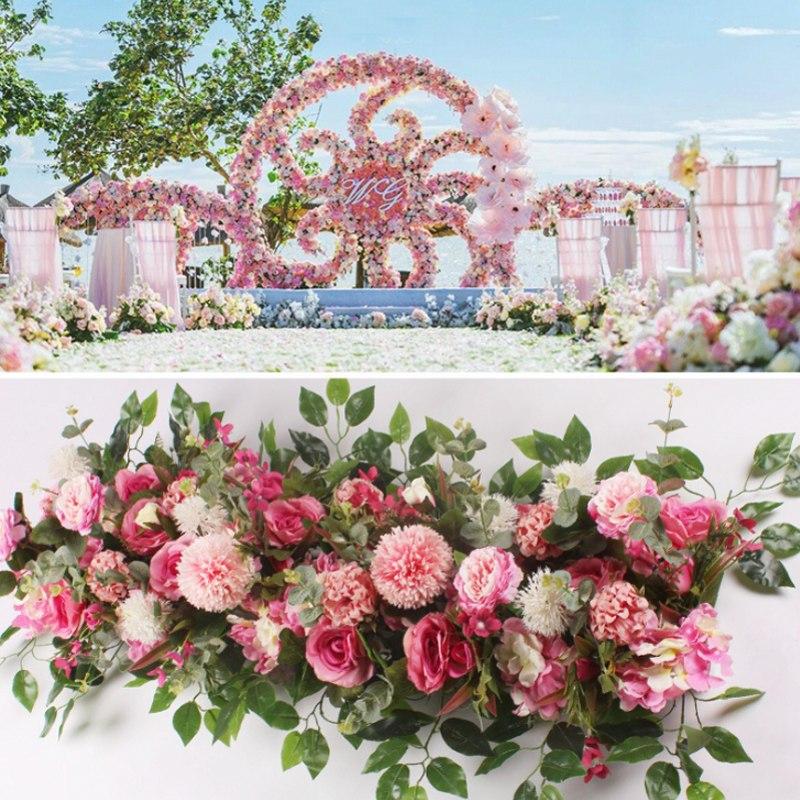 AliExpress - 50/100cm DIY wedding flower wall arrangement supplies silk peonies rose artificial flower row decor wedding iron arch backdrop