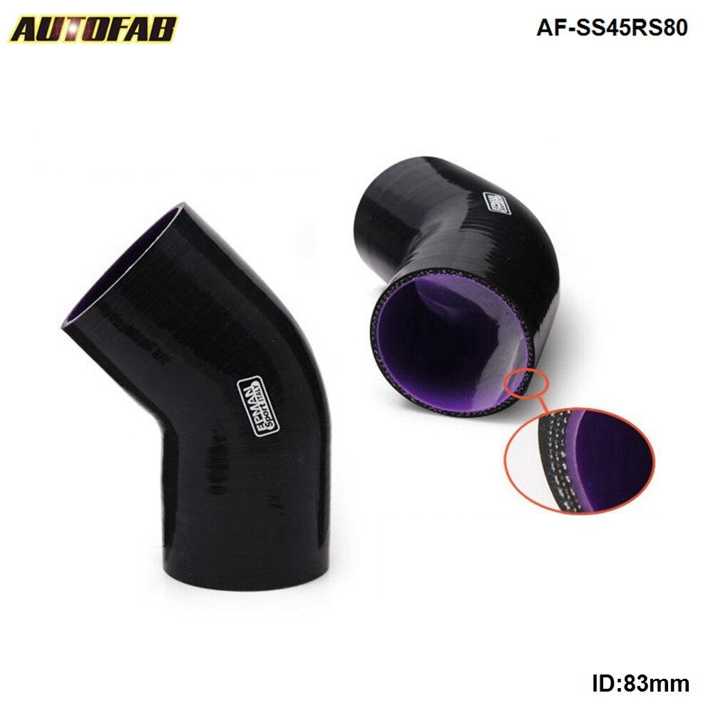 Cotovelo de mangueira de silicone preto 45 graus 80mm para honda integra TYPE-R/-x/s/is dc5/acura rsx k20a AF-SS45RS80