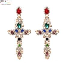 JUJIA 7 colors Earring Jewelry good quality Crystal Multicolor Special Bohemia Big long CROSS ASTERIA SCARAB KRYSTALLES EARRING