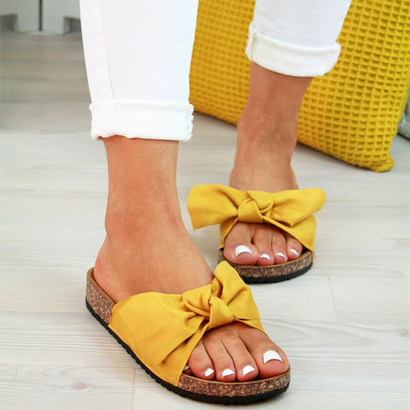 Oeak nuevas mujeres Slip On Bow flatshape Torridity Sandalias Zapatos tamaños moda 2019