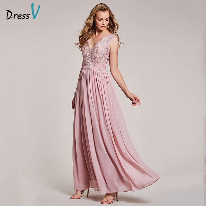 Dressv peal فستان سهرة طويل وردي رخيصة الخامس الرقبة الدانتيل يزين خط الزفاف فستان رسمي الشيفون فساتين السهرة