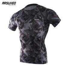 ARSUXEO hommes eté Sports Compression course t-shirts Camouflage manches courtes couche de Base Fitness vêtements de gymnastique séchage rapide C52