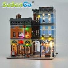 Susengo kit de luz led para 10246 criador rua especialista detetive conjunto iluminação escritório compatível com 15011 30008