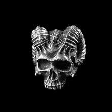 EYHIMD anneau crâne diable à cornes Unique gothique Rock 316L en acier inoxydable, anneaux de motard, bijoux Punk