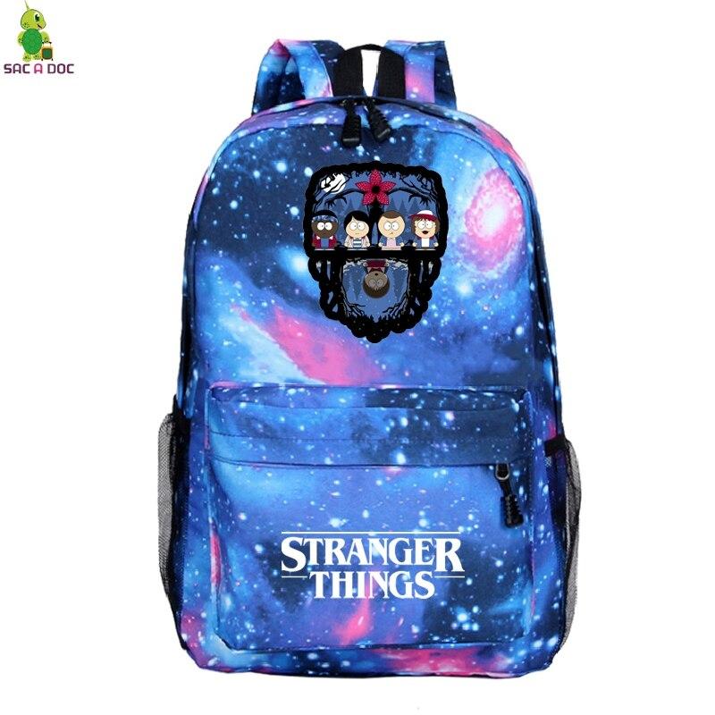 Mochila Escolar 2019 Stranger Things, Mochila de viaje para hombres, Mochila Escolar para mujeres, mochilas para adolescentes, Mochila para ordenador portátil, Mochila para hombres A Dos