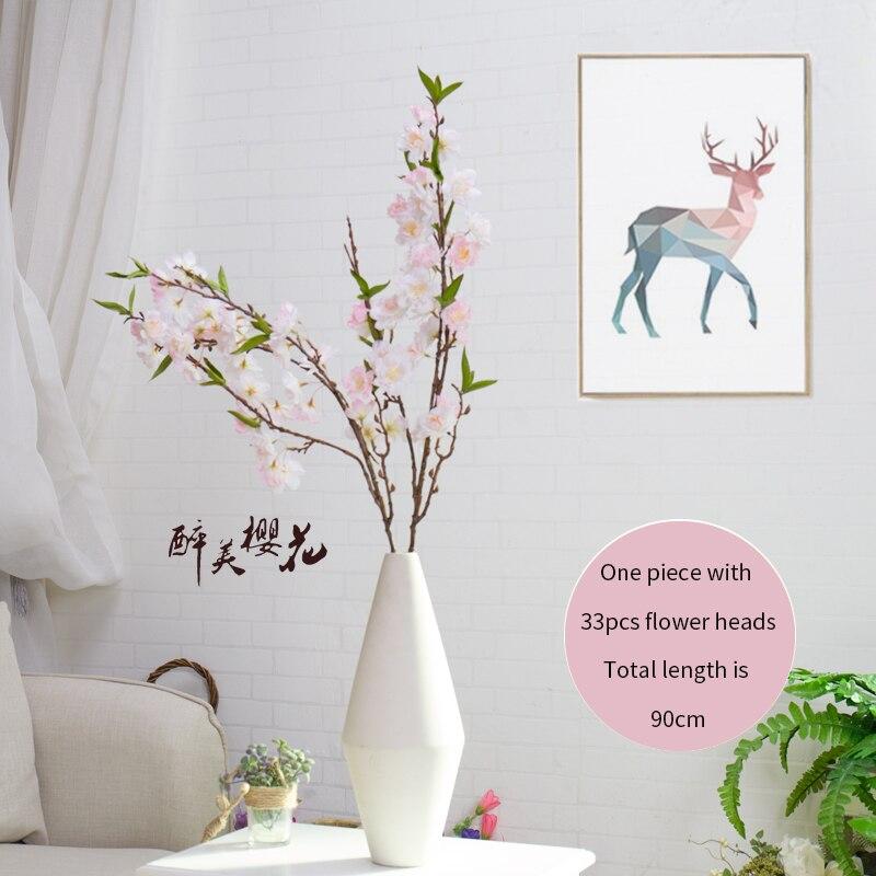 Flores artificiales de flores de cerezo artificiales de 90cm, ramas de Sakura de seda para florero, Fondo de boda, decoración de pared, flores de plástico