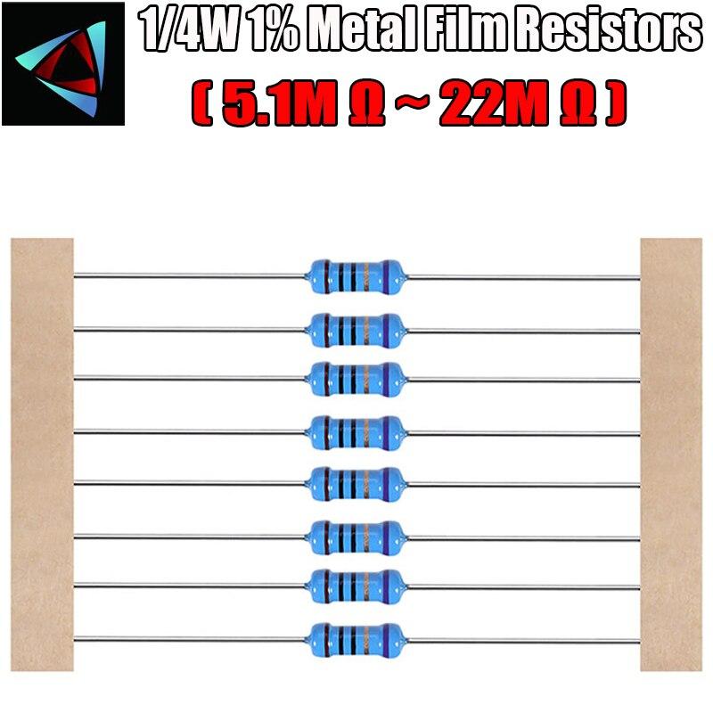 Металлический пленочный резистор, 1/4 Вт, 1%, 5,1 м, 5,6 м, 6,2 м, 6,8 М, 7,5 м, 8,2 м, 9,1 м, 10 м, 12 м, 18 м, 20 м, 22 м, Ом, 100 шт.