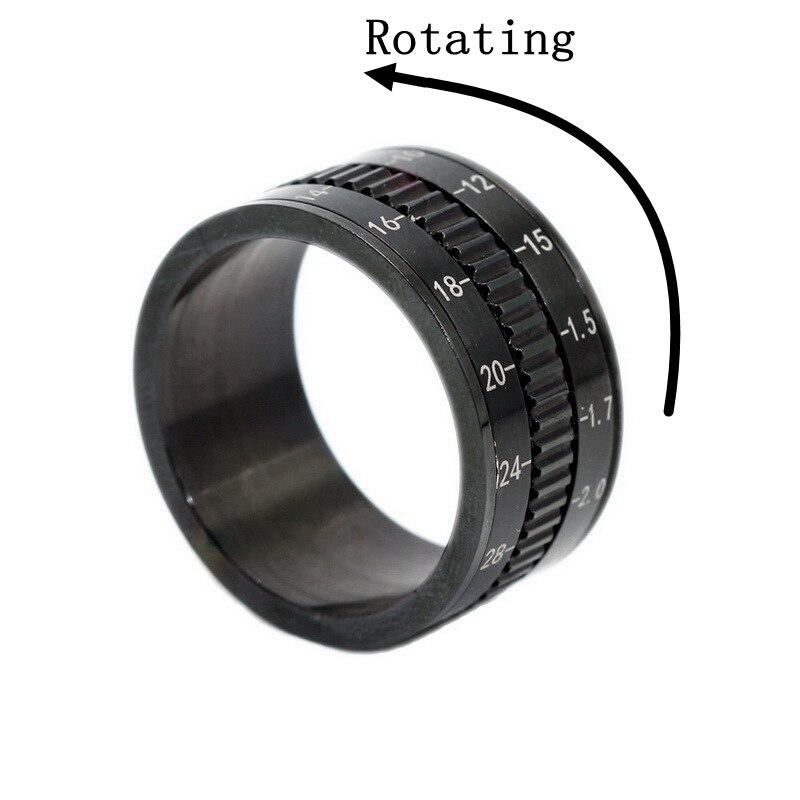 Aço inoxidável preto chapeado câmera telefoto lente design girador para anel masculino