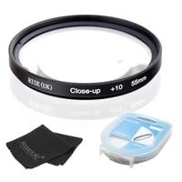 HOT SALE RISE UK  55mm Close-Up  10 Macro Lens Filter for Nikon Canon SLR DSLR Camera   filter case   gift