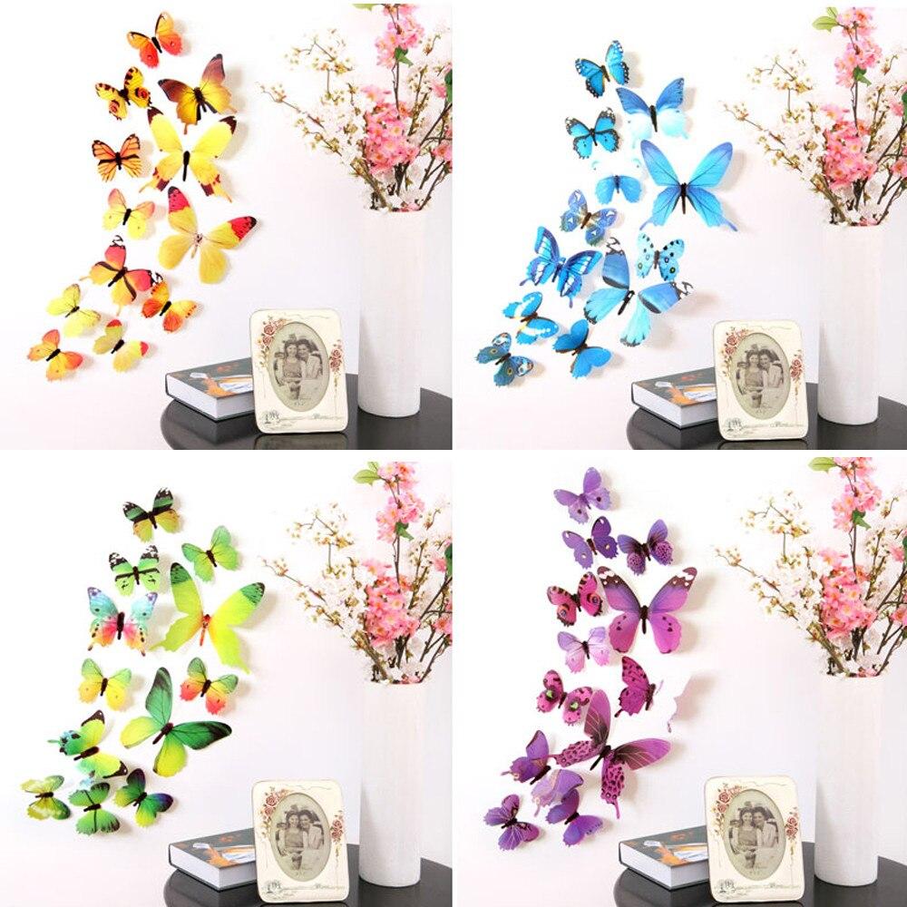 12 шт., 3D наклейки на стену с бабочкой, наклейки на стену, художественная наклейка на стол, домашний декор, наклейки на стену, обои с бабочками J #1