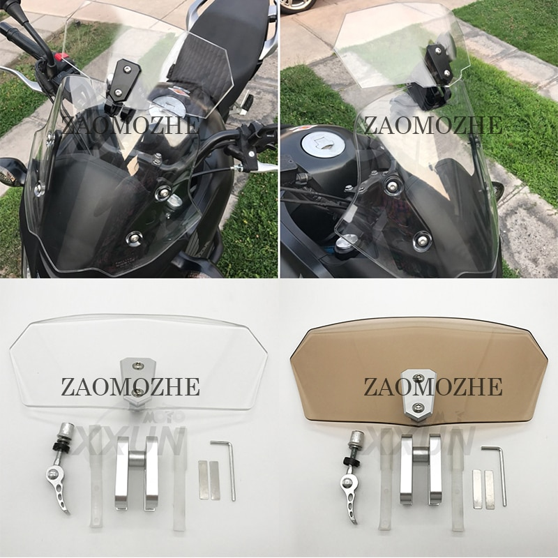 Parabrisas y deflectores transparentes ajustables universales para motocicleta Kawasaki Z650 Z900 Ninja650 KLR650 KLE650