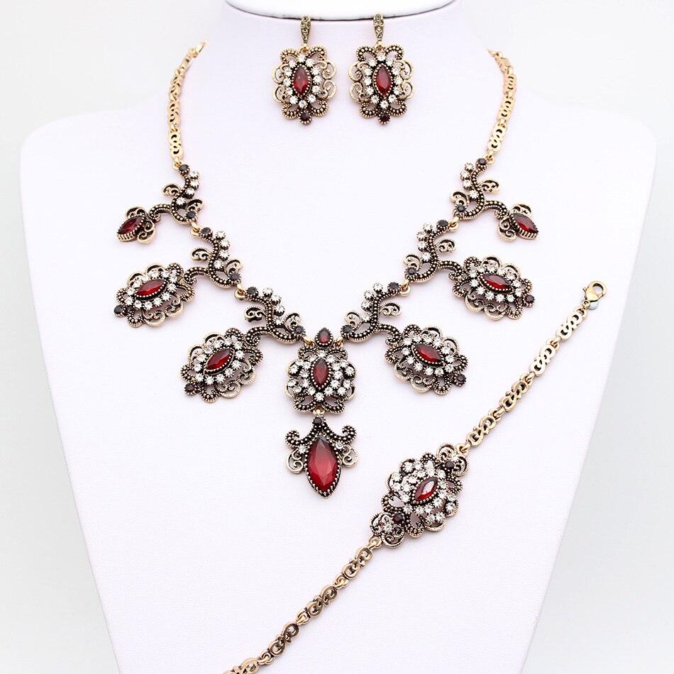 SUNSPICE MS Роскошные турецкие свадебные ювелирные наборы для женщин серьги ожерелье браслет античное золото цвет серый камень подарки
