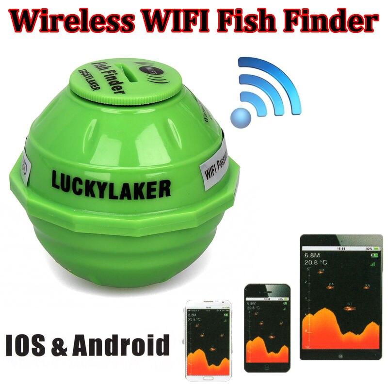 Lucky laker ff916 wi fi sem fio localizador de peixes sonar russo detector de peixes aplicativo mais profundo eco sounder mordida alarme para profundidade pesca