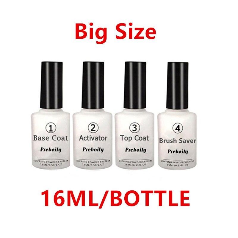 16ml con pincel protector Gel activador Base y Top para uñas Dip Natural en polvo seco sin First y lámpara sellador seco cura desnudo polvos
