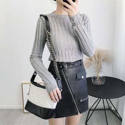 2019 nueva moda falda de cuero de oveja genuina G26