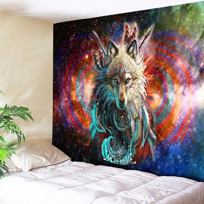 Lobo guerreiro tapeçaria dreamcatcher parede pendurado lobo psychedelic galáxia espaço boho decoração folhas animais praia yoga tapete