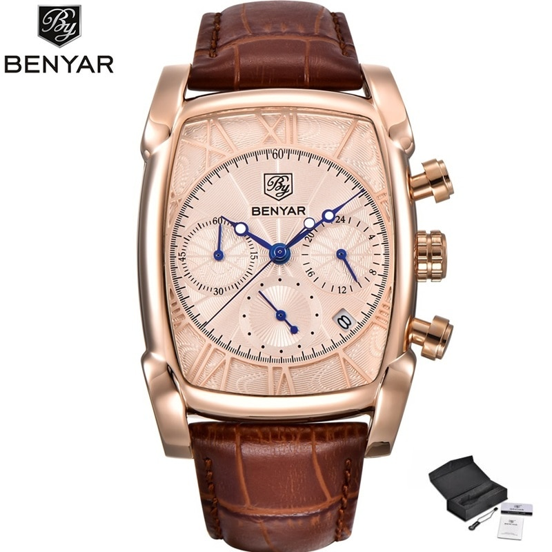 Relojes BENYAR de lujo de oro rosa para hombre, reloj de pulsera deportivo para hombre, correa de cuero de moda, reloj impermeable para hombre, reloj masculino