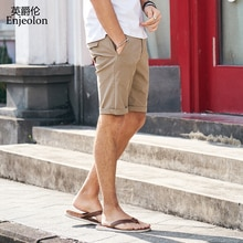 Enjeolon-short homme   Nouveau short décontracté, en coton, Sim, Base solide, disponible longueur aux genoux, haute qualité, été 2020, K6808