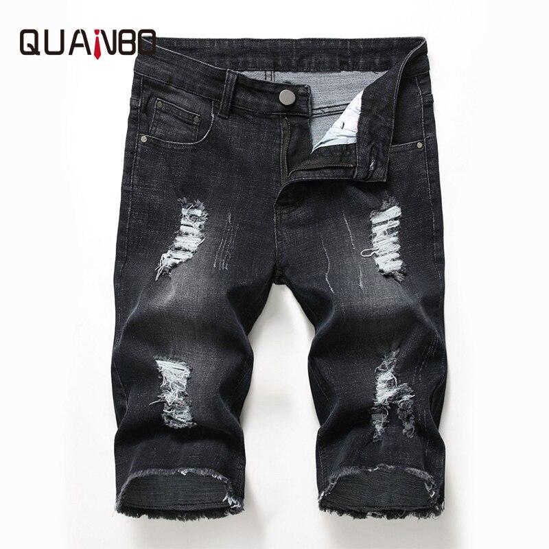 Marca QUANBO Clothign, pantalones vaqueros cortos negros para hombre, novedad de verano 2019, pantalones cortos rasgados elásticos, pantalones cortos Punk a la moda para hombre, pantalones cortos 42